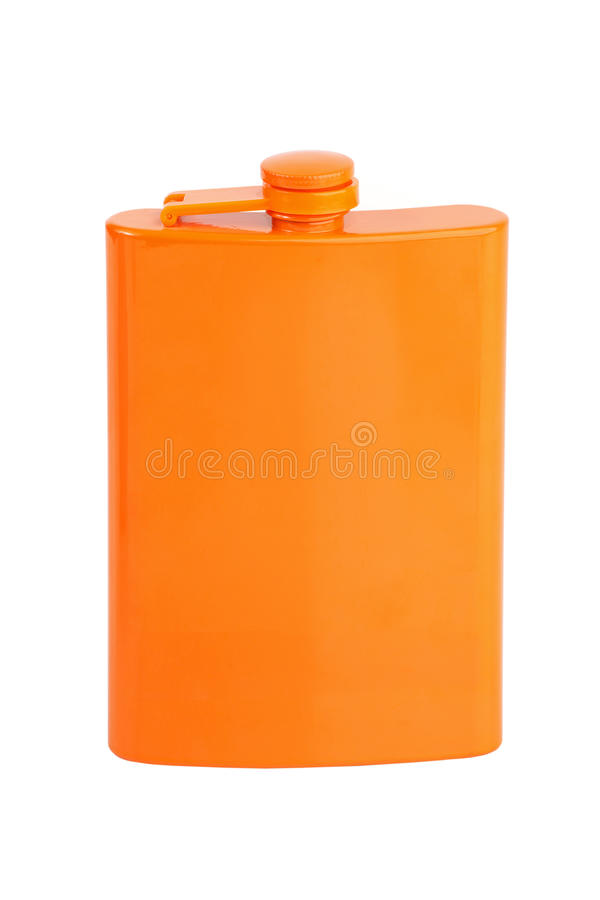 Compact metal flask for alcohol stock image