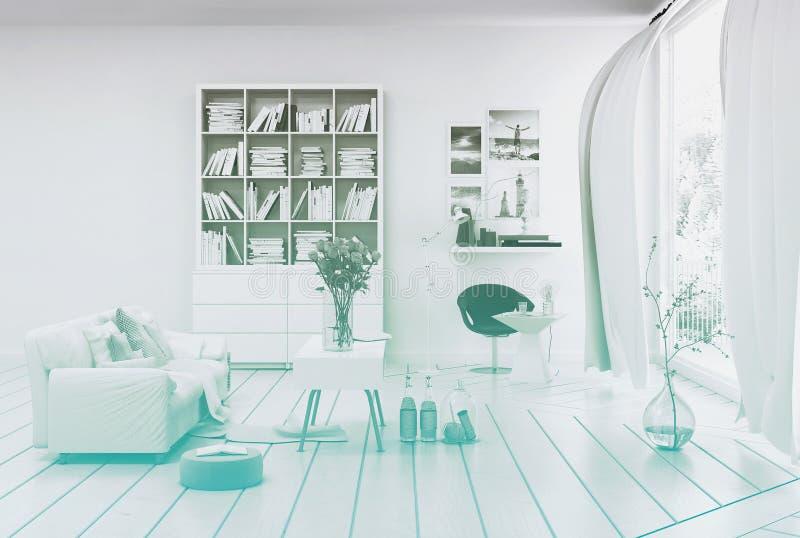 Compact modern white living room interior stock photos