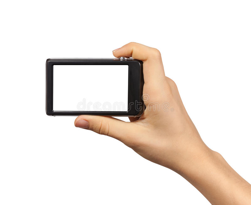 Compact photo camera in hand isolated. On white background stock image