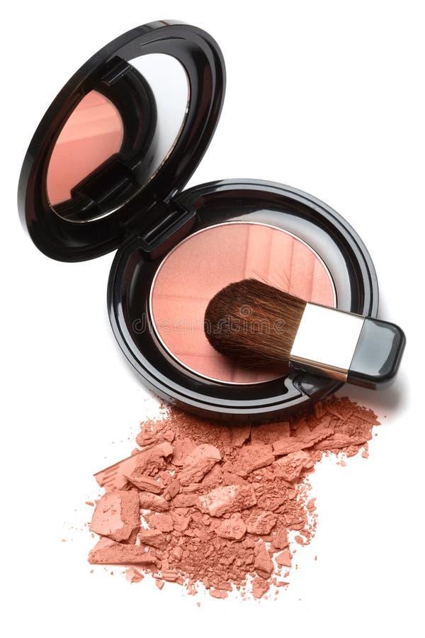 Compact powder blush box with mirror and brush stock photo