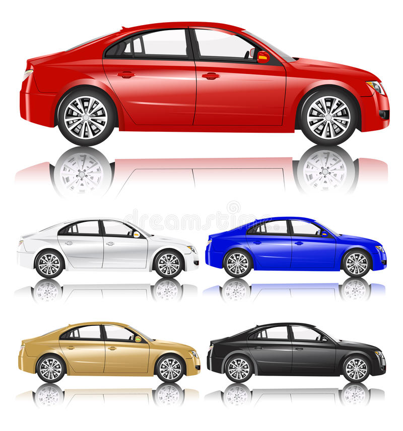 Compact sedan contemporary city car. Isolated on background royalty free illustration
