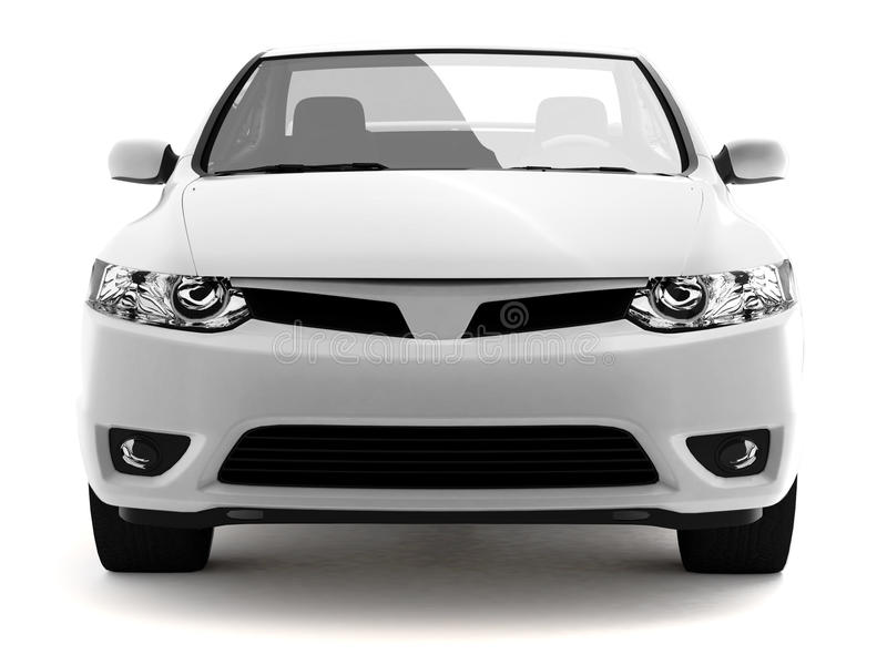 Compact white car front view vector illustration