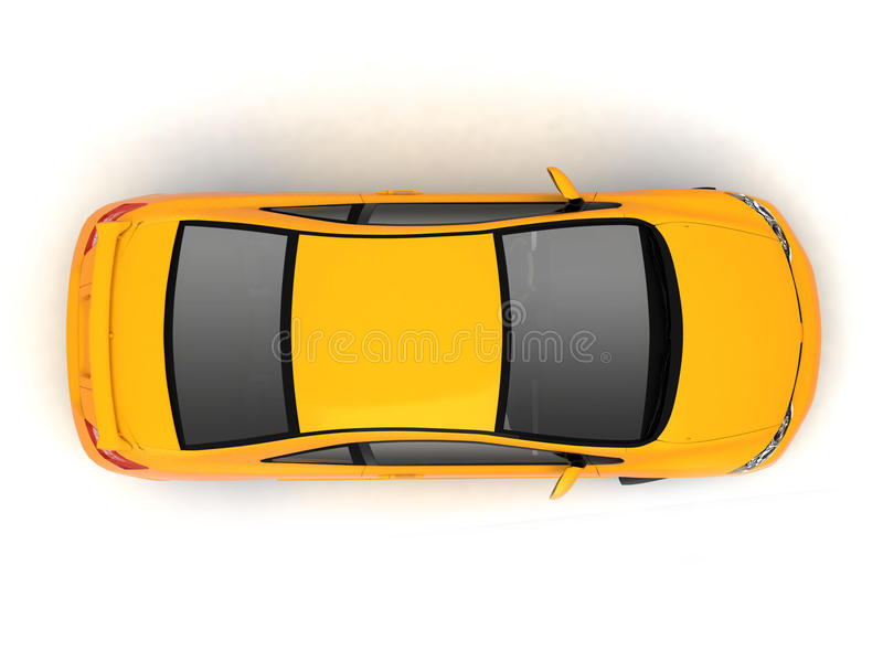 Compact yellow car top view stock photography