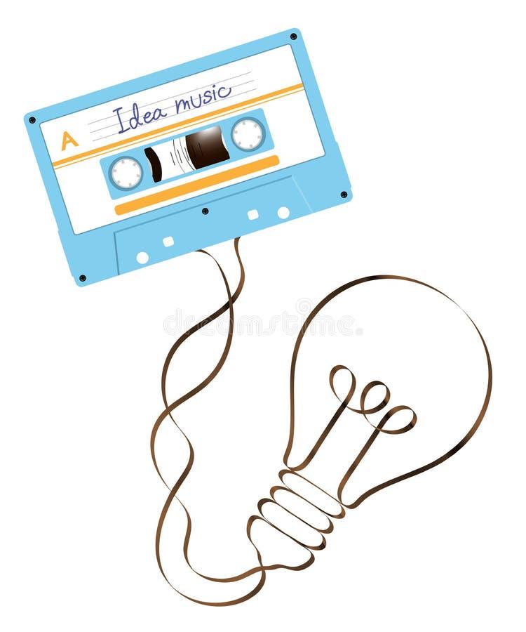 Compacte audio sh cassette blauwe kleur en Gloeiende gloeilamp stock illustratie