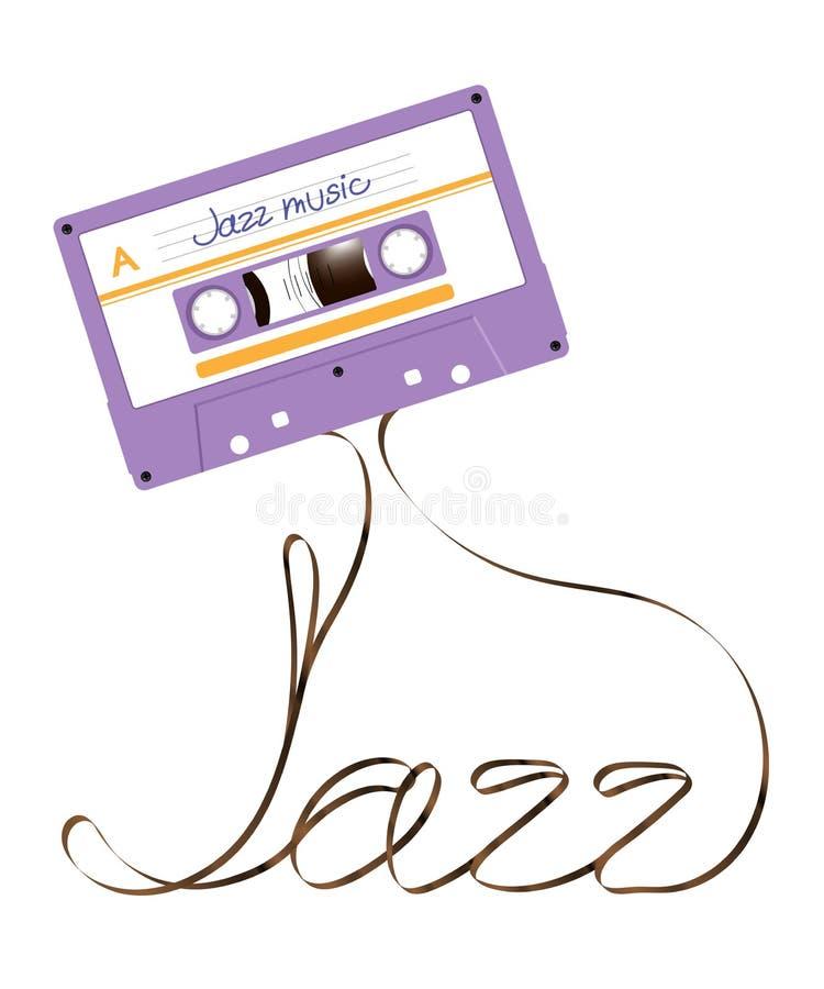 Compacte audio van de cassette violette die kleur en jazz tekst van anaal wordt gemaakt vector illustratie