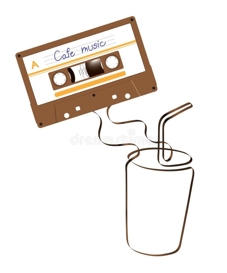 Compacte audiocassette bruine kleur en de Bevroren vorm m van het koffieglas stock illustratie