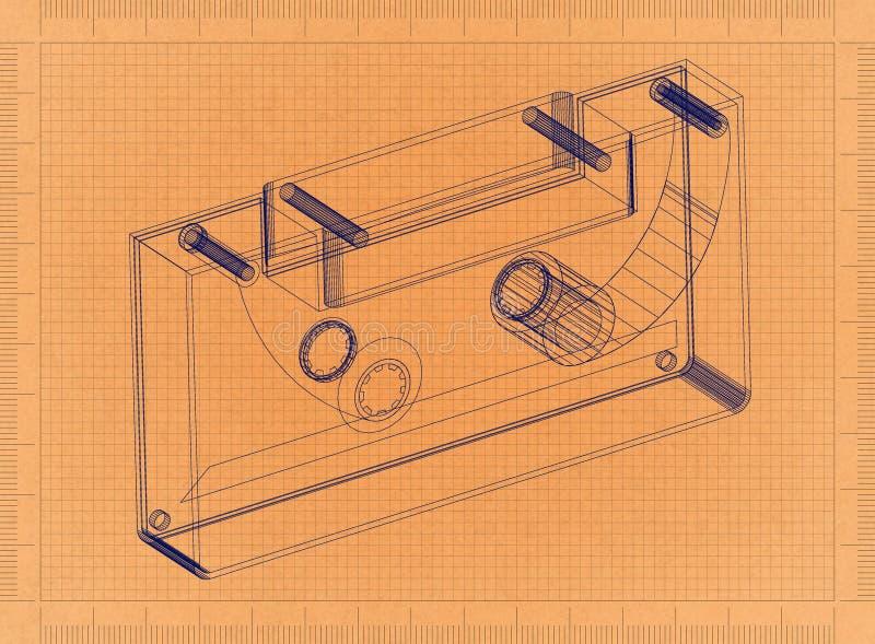 Compacte Audiocassette - Retro Blauwdruk vector illustratie