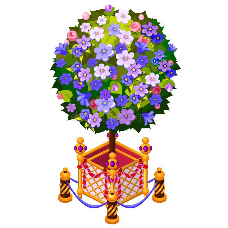 Compacte boom in gouden die pot met omheining op witte achtergrond wordt geïsoleerd De vectorillustratie van het beeldverhaalclos royalty-vrije illustratie