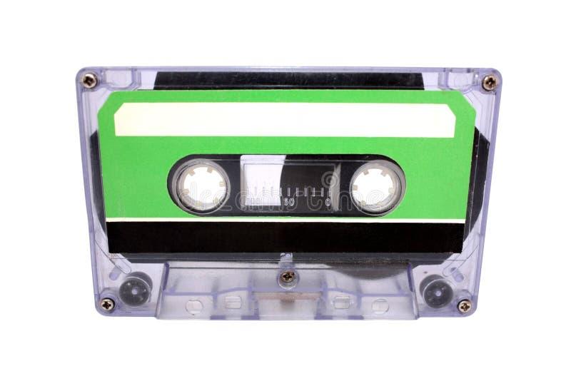 Compacte Cassette die op wit wordt geïsoleerds. Vooraanzicht royalty-vrije stock afbeelding