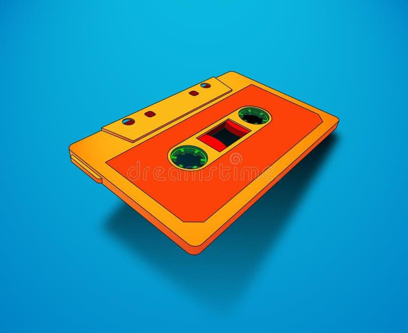 Compacte cassette voor muziek of audioverslagen met trillende kleuren royalty-vrije illustratie