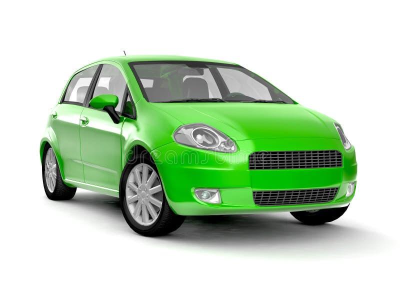 Compacte nieuwe groene auto vector illustratie