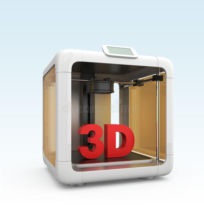 Compacte persoonlijke 3D printer op gradiëntachtergrond royalty-vrije illustratie