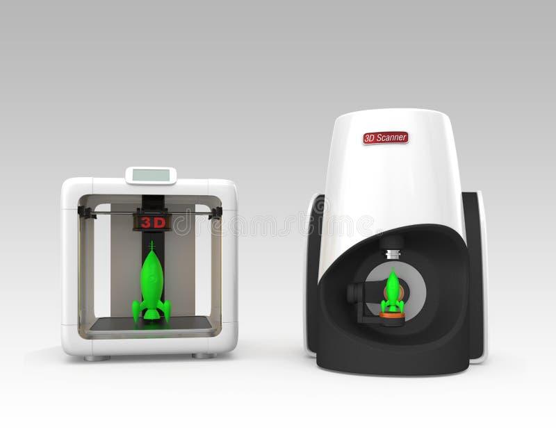 Compacte persoonlijke 3D scanner en printer royalty-vrije illustratie