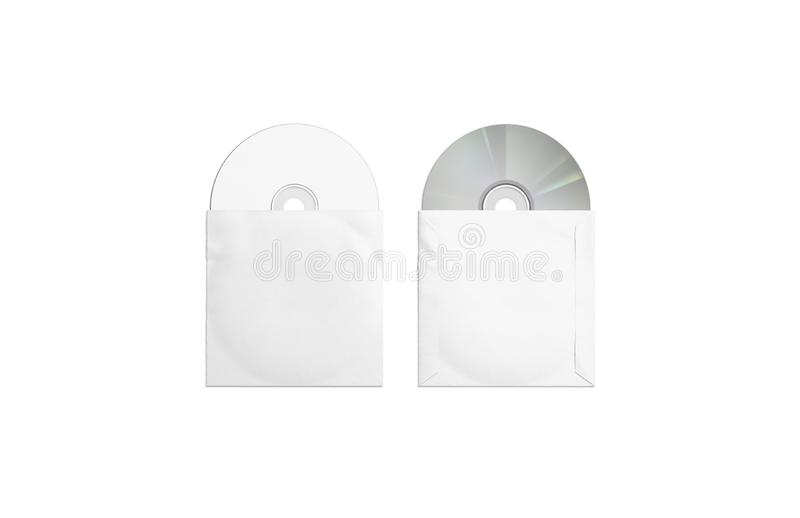 Compacts-disc brancos da placa que empacotam o modelo, a parte superior e o verso ilustração do vetor