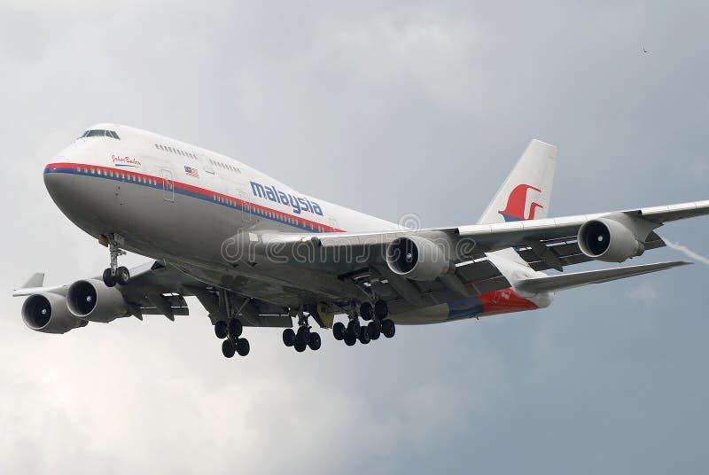 Compagnies aériennes B747 de la Malaisie photographie stock libre de droits