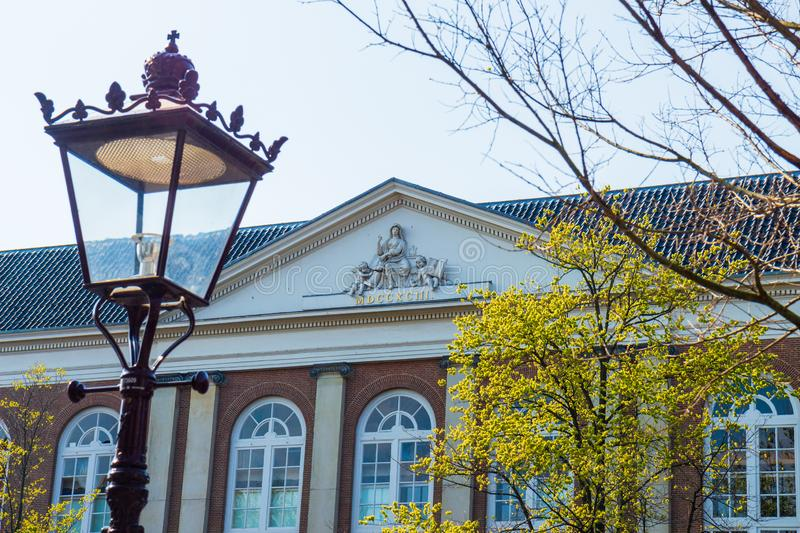 Classical tympanum of the Compagnie Theatre, Amsterdam royalty free stock images