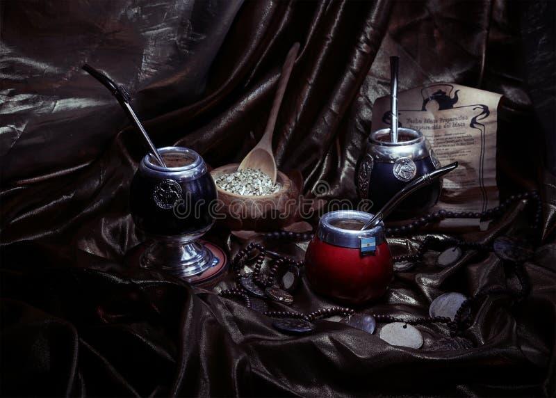 Compagnon de Yerba et calebasses (toujours la vie artistique) photo libre de droits