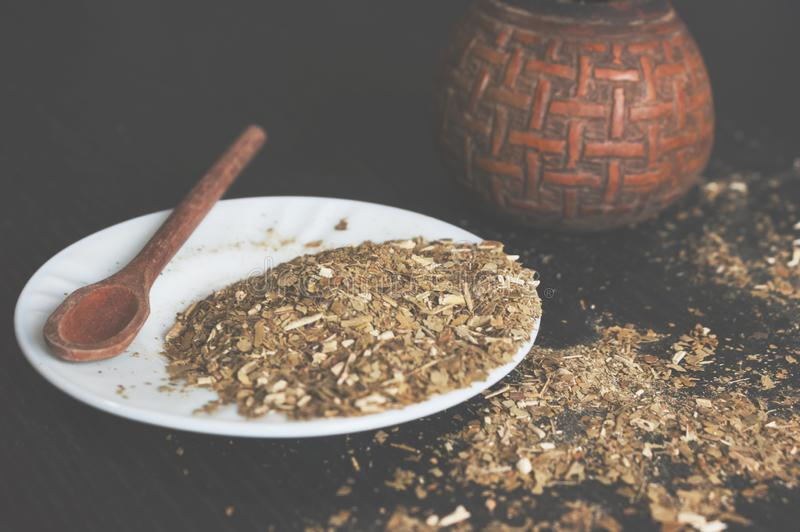 Compagnon de Yerba, pas simplement une infusion Culture latino-am?ricaine image stock