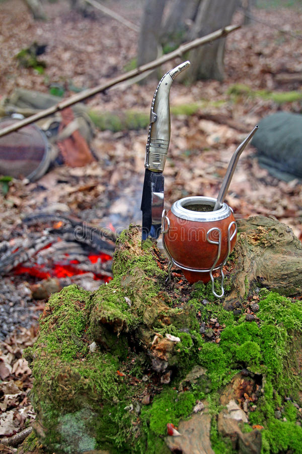 Compagnon et couteau de Yerba en bois image stock