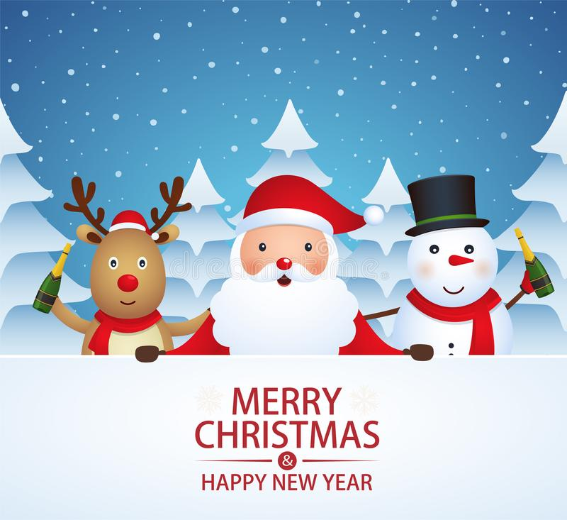 Compagnons de Noël avec le champagne illustration libre de droits