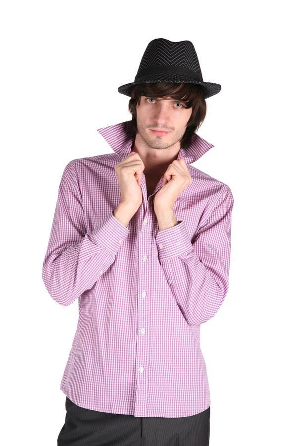 Companheiro em camisa e em chapéu negro checkered foto de stock