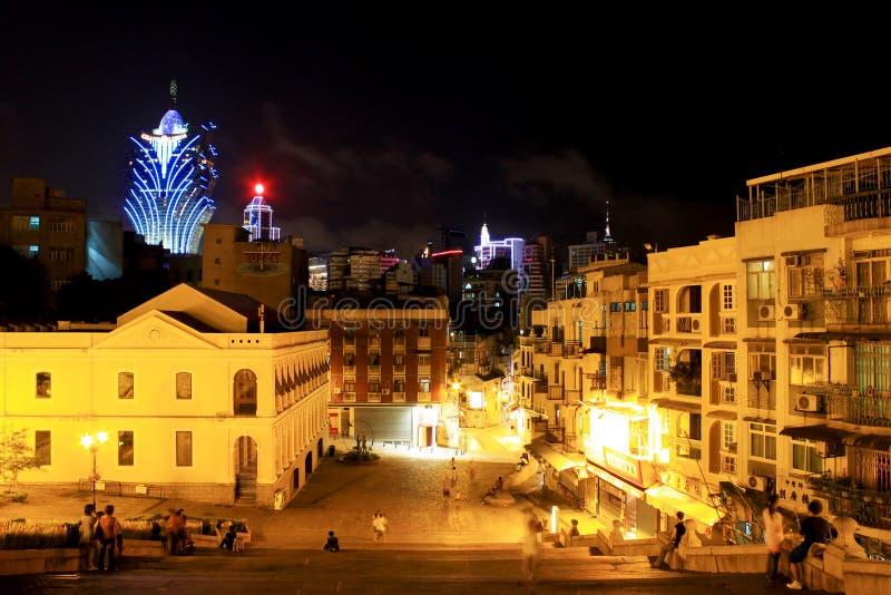 The Companhia de Jesus Square At Night, Macau, China royalty free stock images