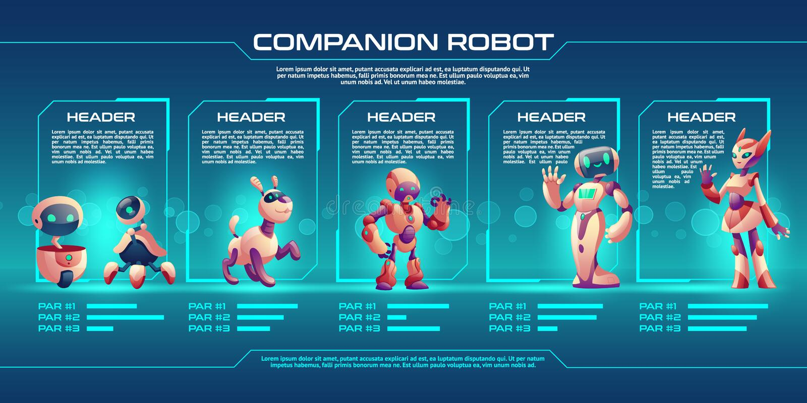 Companion robot evolution timeline infographics royalty free illustration