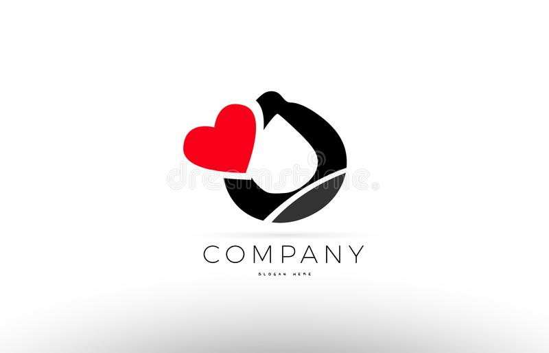 O Alphabet Letter Logo Icon With Love Heart Symbol Company Desig