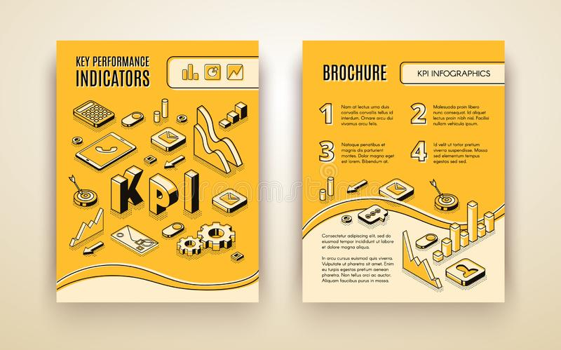 Company KPI analysis vector brochure template. Company annual report, business strategy presentation, data analysis result with key performance indicators vector illustration