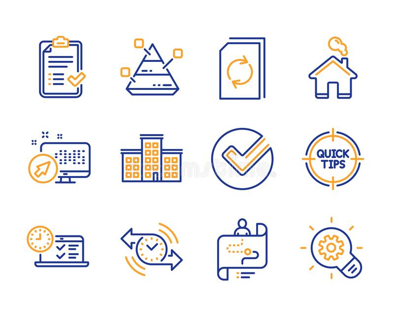 Company, Approved checklist and Online test icons set. Web system, Update document and Tips signs. Vector vector illustration