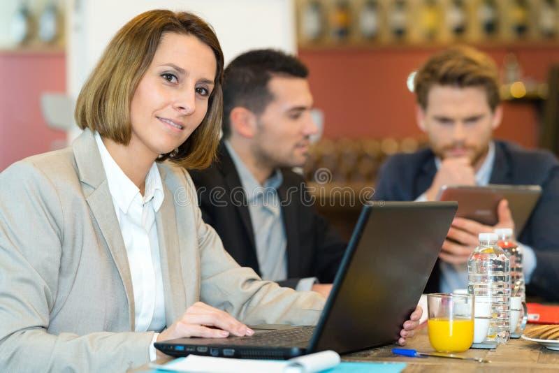 Company board workers having breakfast meeting. Company board workers having a breakfast meeting stock photo