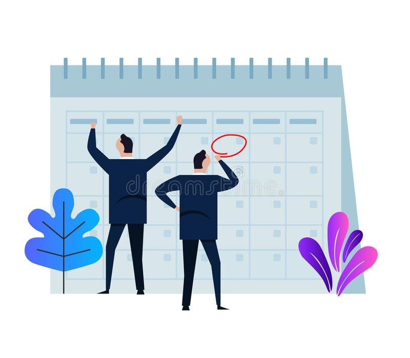 Company business team working together planning and scheduling their operations agenda on a big spring desk calendar. Drawing circle mark with pencil standing royalty free illustration