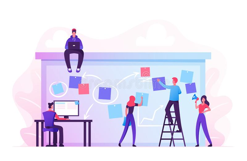 Company Business Team Working Together Planning and Scheduling Their Operations Agenda on Big Spring Desk stock illustration