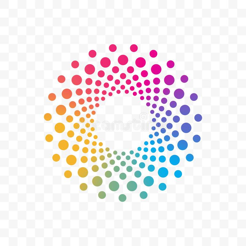 Company color circle dots vector brand icon. Innovation or technology company and web application vector logo icon of color dots circle vector illustration