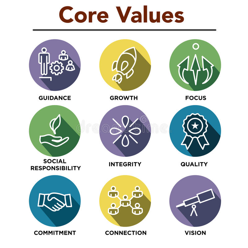Company Core Values Outline Icons for Websites or Infographics. Company Core Values Outline Icons for Websites / Infographics vector illustration