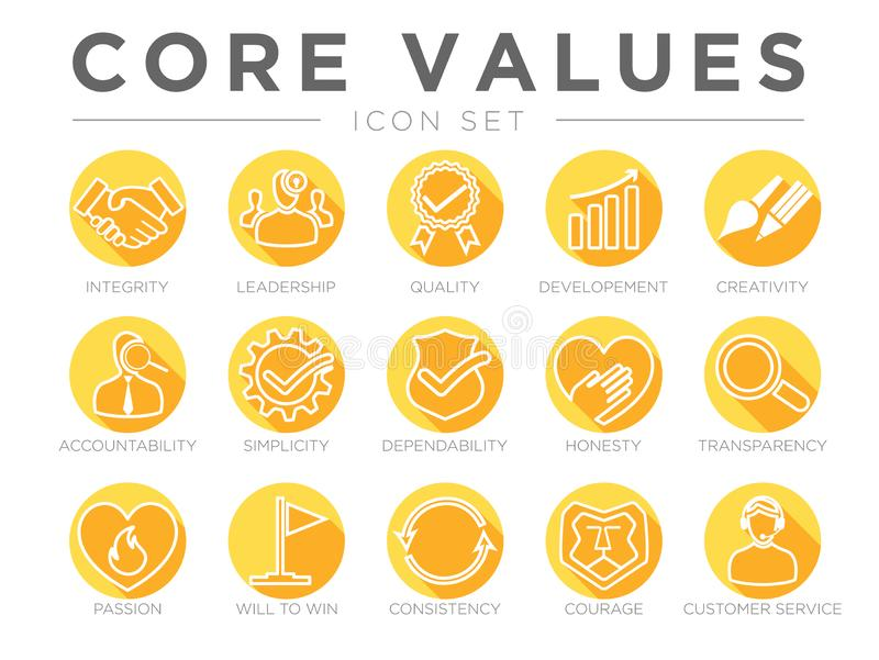 Company Core Values Round Flat Icon Set. Integrity, Leadership, Quality and Developement, Creativity, Accountability, Simplicity, stock illustration