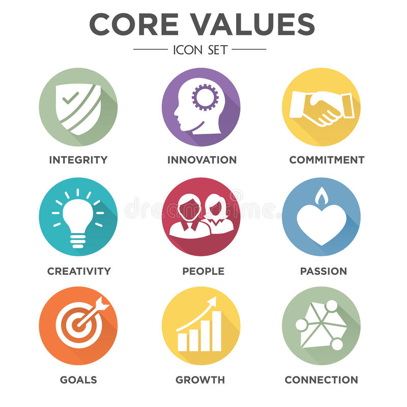 Company Core Values Solid Icons vector illustration
