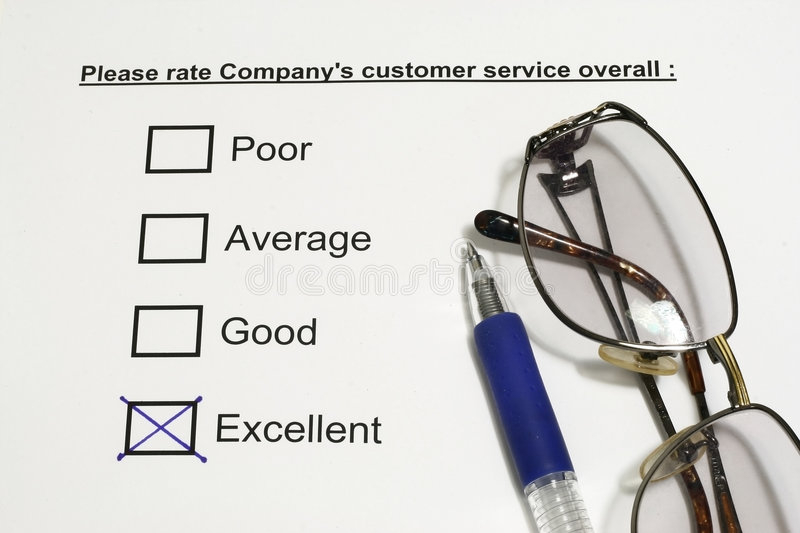 Company Customer Service. Concept with tick on excellent royalty free stock photography