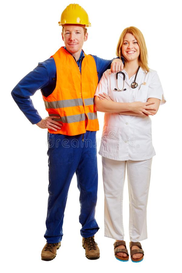Company doctor and construction worker stock photography