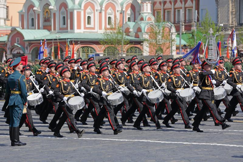 Company of drummers. MOSCOW, RUSSIA - MAY 07, 2019: Rehearsal of the Victory Day celebration WWII. Company of drummers of the Moscow Military Music College stock images