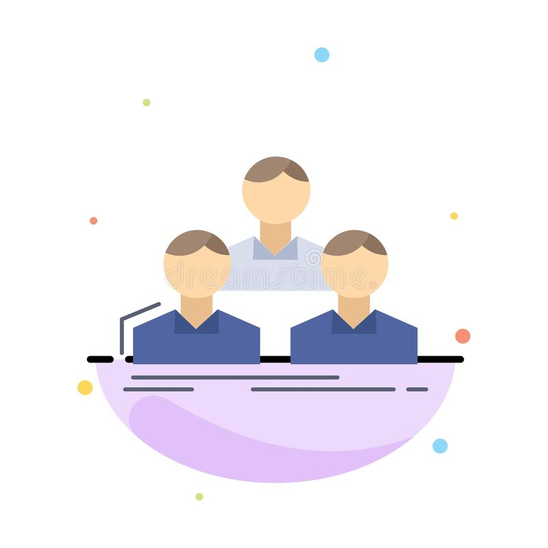 Company, employee, group, people, team Flat Color Icon Vector royalty free illustration