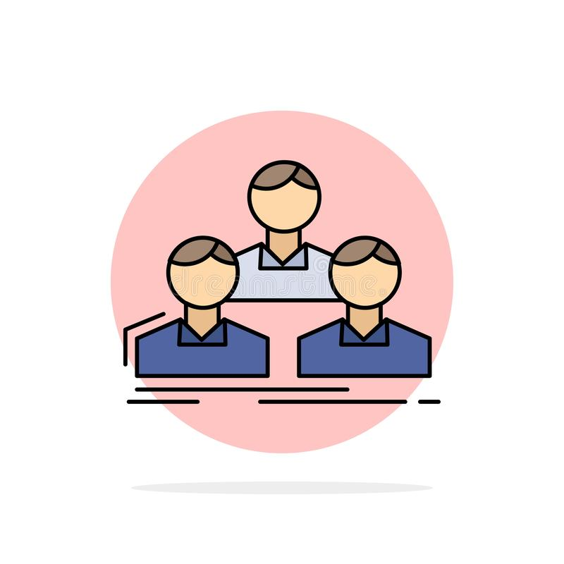 Company, employee, group, people, team Flat Color Icon Vector vector illustration