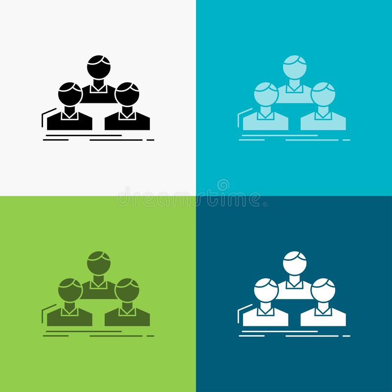 Company, employee, group, people, team Icon Over Various Background. glyph style design, designed for web and app. Eps 10 vector. Illustration. Vector EPS10 vector illustration