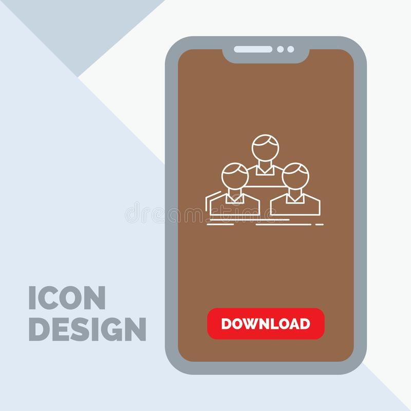 Company, employee, group, people, team Line Icon in Mobile for Download Page. Vector EPS10 Abstract Template background royalty free illustration