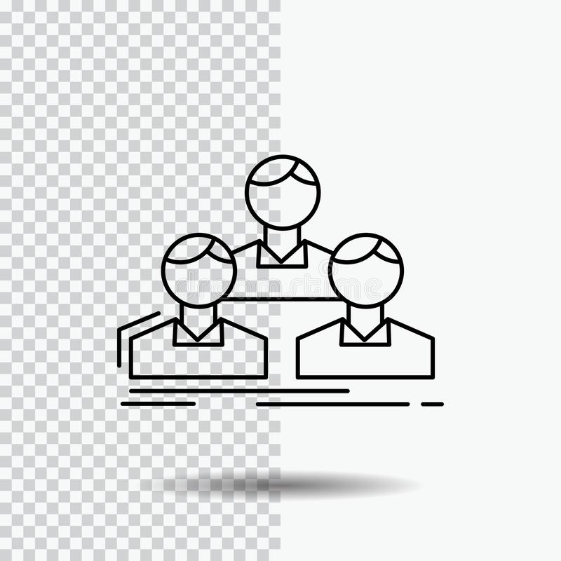 Company, employee, group, people, team Line Icon on Transparent Background. Black Icon Vector Illustration. Vector EPS10 Abstract Template background royalty free illustration