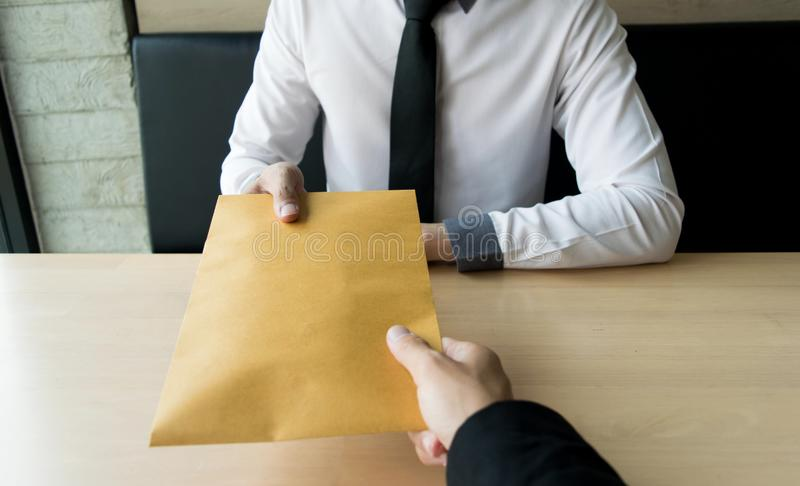 Company employees have been corrupt by bringing money to the company`s human resources department. To allow him. To be promoted to manager royalty free stock photo