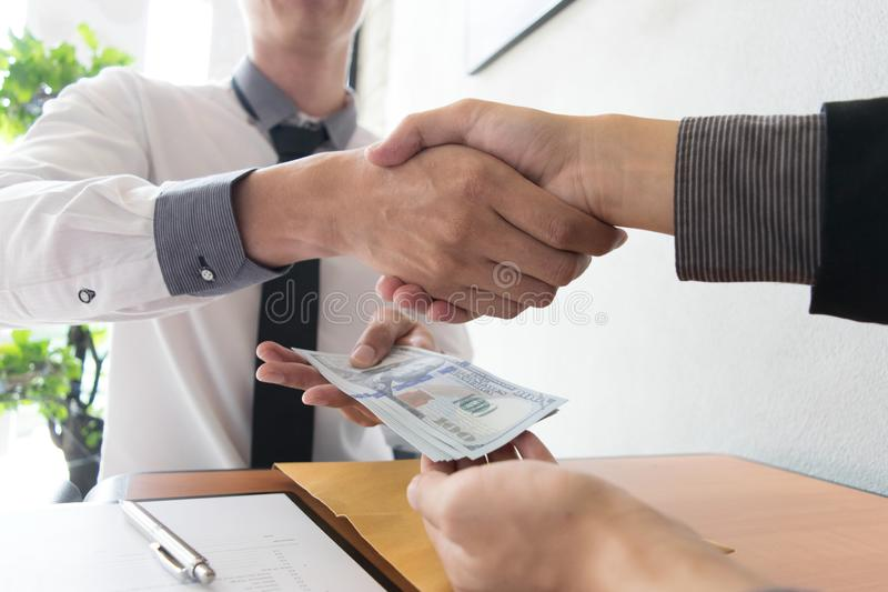 Company employees have been corrupt by bringing money to the company`s human resources department. To allow him. To be promoted to manager royalty free stock photos