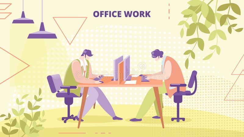 Company Employees Office Work flat vector Banner royalty free illustration