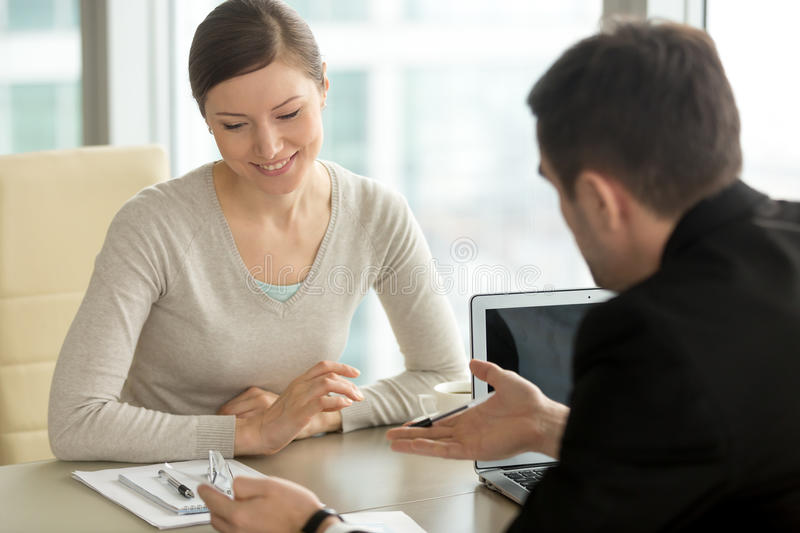 Company executive coaching personal assistant in office, busines royalty free stock photos