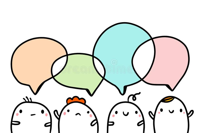 Company of four cute marshmallows talking hand drawn illustraton with speech bubbles vector illustration